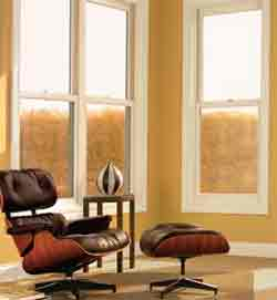 Double-hung windows with double glazing.
